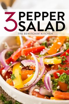This three pepper salad recipe is a barbecue side dish favorite! Made with marinated bell peppers, red onion, and a vinegar dressing - this three pepper salad is ideal for picnics or a low carb dinner option! #thebewitchinkitchen #threepeppersalad #bbqrecipes #sidedish #healthyrecipes #lowcarbrecipes #lowcalorierecipes #barbecuerecipes #bellpepperrecipes