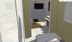 Vista hacia salón desde dormitorio pequeño, la apertura de las puertas correderas amplía y unifica el espacio.