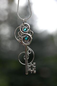 Blue Wave Key Necklace