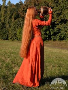 """DISCOUNTED PRICE! In Stock! Ready to ship! Fixed Sizes! Medieval Long Linen Dress Tunic """"Red Elise"""""""