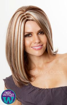 Hair Color Trends 2018 - Highlights auburn and chunky blonde streaks.love this color Discovred by : Jess❤Fabbulous 💋DELUXE Rachel (Auburn with Blonde Highlights Fashion Wig - Kanekalon FibreAustralia's Largest Discount Wigs Online - Based In Syd Brown With Blonde Highlights, Blonde Streaks, Brown Blonde Hair, Hair Color Highlights, Auburn Highlights, Chunky Highlights, Auburn Balayage, Caramel Highlights, Dark Blonde