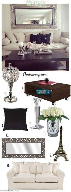 Para copiar: sala de estar elegante usando preto e prata