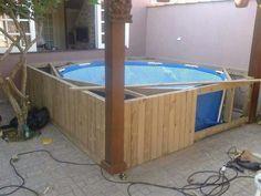Construindo piscina a partir de uma piscina de plástico...