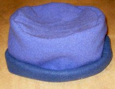 Make a hat with rolled brim from an old shrunk jumper.