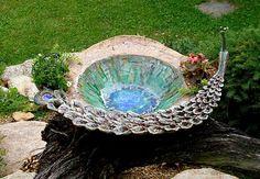 Pottery Bowls, Ceramic Pottery, Ceramics Projects, Peacock, Concrete, Sculptures, Bird Baths, Outdoor Decor, Jewelry