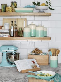 Shop Glass Storage Canisters with Stainless Steel Lids. All-purpose modern storage essentials with clean lines in view-through glass are fitted with tight-sealing stainless screwtop lids. French Kitchen, Country Kitchen, Vintage Kitchen, Ideas Cafe, Recycled Kitchen, Aqua Kitchen, Kim's Kitchen, Bungalow Kitchen, Chicken Kitchen