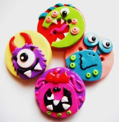 Button Little Monsters handmade polymer clay by digitsdesigns, $9.50