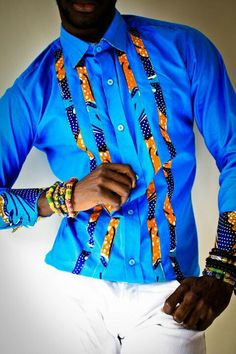 Mens dress shirt with Ankara panels