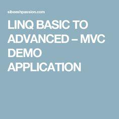 LINQ BASIC TO ADVANCED – MVC DEMO APPLICATION