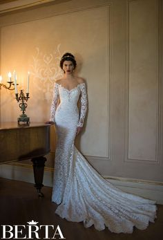 off the shoulder plunging v neck long sleeve lace mermaid wedding dress