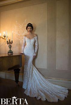 off the shoulder plunging v neck long sleeve lace mermaid wedding dress