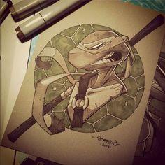 Part of my head sketch series. - hope you guys have been enjoying turtles week over here! Copic Marker Art, Turtle Painting, Scott Pilgrim, Teenage Mutant Ninja Turtles, Tmnt, Cartoon Characters, Painting & Drawing, Art Reference, Character Art