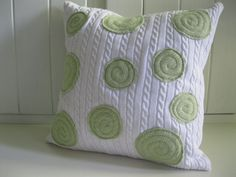 Upcycled Sweater Pillow - White with Pistachio / Mint Dots.   Crystelle Boutique