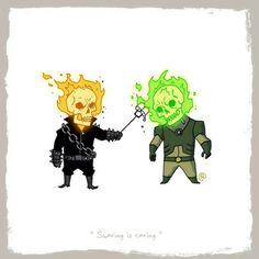 Superhero Friends created by Darren Rawlings - Ghost Rider (Marvel) and Atomic Skull (DC)