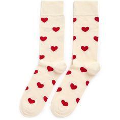 Happy Socks Heart socks (13 CAD) ❤ liked on Polyvore featuring intimates, hosiery, socks, heart socks and wide socks