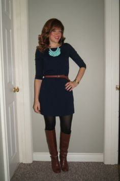 #OOTD #SITC Turquoise Teardrop Necklace, Navy Shift Dress & Brown Boots ~ http://sextoninthecity.ca/sitc-turquoise-teardrop-necklace/