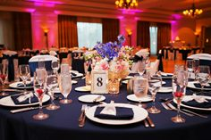 White, Blue & Pink Wedding Centerpieces - Waterfront Wedding in Tampa, FL with Tampa Wedding Florist Apple Blossoms Floral Design & Wedding Photographer in Tampa Limelight Photography