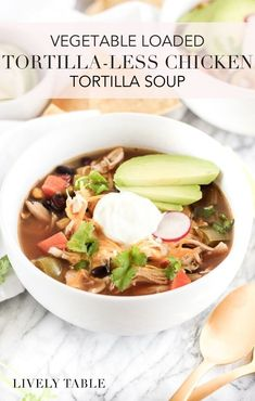 Crock Pot Tortilla-less Chicken Tortilla Soup loaded with vegetables is a healthy and flavorful Mexican soup that your family will love! Try it for lunch or dinner. Recipe includes stove top directions. (gluten, dairy, and nut free) Healthy Weeknight Meals, Healthy Chicken Dinner, Easy Healthy Dinners, Healthy Lunches, Lunch Recipes, Mexican Food Recipes, Real Food Recipes, Salad Recipes, Meal Recipes