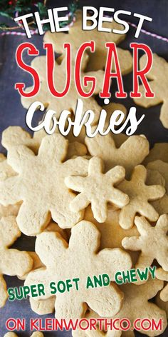 Easy Sugar Cookie Recipe for soft Sugar Cookie Recipe Easy, Chewy Sugar Cookies, Best Cookie Recipes, Best Dessert Recipes, Candy Recipes, Amazing Recipes, Cheesecake Desserts, Köstliche Desserts, Easy No Bake Desserts