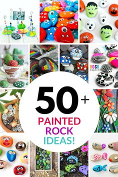 Over 50 rock painting ideas! I love all these fun painted rock ideas and stone painting projects for kids and adults. Colorful painted rocks you can use for real projects . Rock Painting Patterns, Rock Painting Ideas Easy, Rock Painting Designs, Painting For Kids, Stone Crafts, Rock Crafts, Fun Crafts, Crafts For Kids, Arts And Crafts