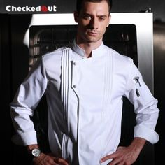 New arrival high quality restaurant kitchen washable cook uniform long sleeve white chef jacket Chef Dress, Hotel Uniform, Mens Designer Shirts, Uniform Design, Embroidered Clothes, White Long Sleeve, Work Wear, Chef Jackets, Chef Coats