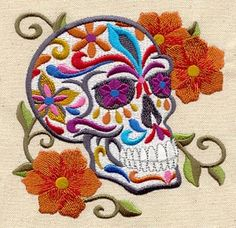 Embroidery Designs at Urban Threads - Calavera Urban Threads, Mexican Embroidery, Crewel Embroidery, Embroidery Tattoo, Floral Embroidery, Embroidery Machines For Sale, Machine Embroidery, Seed Stitch, Cross Stitch