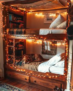 Some warm and cozy bunk bed inspo from Click the image and try our free home design app. Keywords: wood furniture inspiration, cozy furniture, cozy interior design, home interior design cozy… Bunk Bed Rooms, Bunk Beds, Dream Rooms, Dream Bedroom, Girls Bedroom, Home Design, Home Interior Design, Design Ideas, Design Design