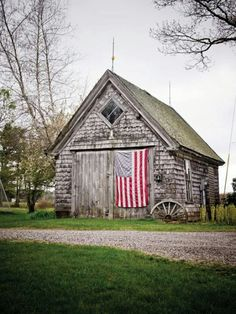Maine - love this old barn with Old Glory!