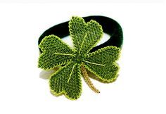 Lucky clover accessory, lace flower ponytail, green crochet hair ties, boho style, oya | Flickr - Photo Sharing!