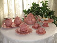 Sweet Necessi-Teas Mother/Daughter Garden Tea Set Pink Majolica