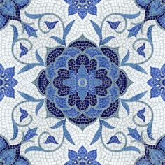 Or this beauty for your shower floor? Vintage-Inspired Delft Tiles Collection In Blue And White designed by Sara Baldwin from New Ravenna Mosaics. Pebble Mosaic, Mosaic Art, Mosaic Glass, Mosaic Tiles, Blue Mosaic, Stained Glass, Mosaic Mirrors, Cement Tiles, Tiling