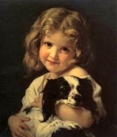 Young Girl With Spaniel-Hugues Merle (1823 – 1881, French)