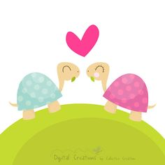 Little Love Turtles Digital Clipart Ideal by CollectiveCreation