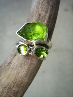 Three forms of a Stone - Custom made in your size - Three stack rings in Sterling Silver - Apatite, Peridot, Amethyst, Aquamarine.