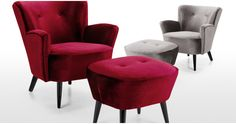 Add a luxurious touch to your living room or bedroom with the Lotus Velvet Armchair. Matching footstool also available. In a silver grey or crimson red.