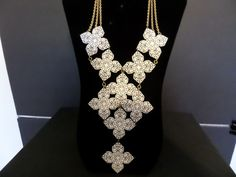 Vintage NAPIER White Enamel Filigree Flower Statement Necklace #1348