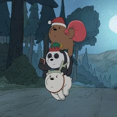 Are you ready for Christmas? Bear Wallpaper, Wallpaper Iphone Cute, Cartoon Wallpaper, Bear Cartoon, Cartoon Icons, Cute Cartoon, Ice Bear We Bare Bears, We Bear, We Bare Bears Wallpapers
