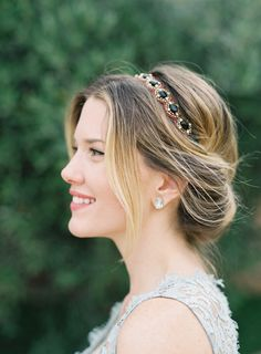 This updo and jeweled headband combination is lovely! #BridalFantasy