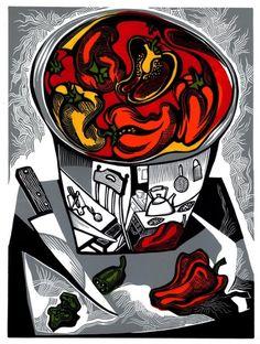 RED PEPPER in a Steel Bowl linocut by WingedLion on Etsy