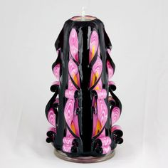 Carved Candle Candle Black Candle  Pink by NewYorkCandleFactory, $34.99