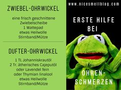 Erste Hilfe bei Ohrenschmerzen... Ohrenwickel... Fictional Characters, The Ear, First Aid, Recipies, Fantasy Characters