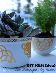 Gold decoupaged mug planters #inspiredlivingomaha