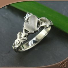 14k White Gold x-1 Pierced Claddagh Band  #Claddaugh