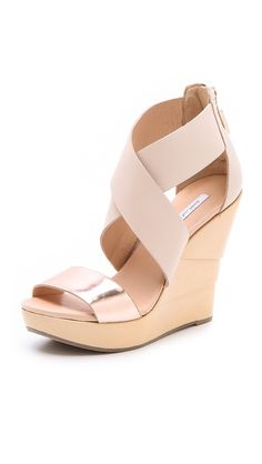 Diane von Furstenberg Opal Lacquered Wedge Sandals. Yes, they make me  6 ft. tall. No, Rob doesn't care that I'll taller than him.
