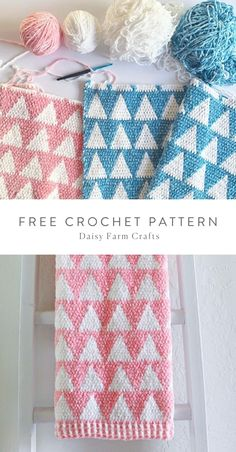 Free Pattern - Crochet Velvet Stacked Triangles Baby Blanket in Pink by Daisy Farm Crafts. Crochet Daisy, Crochet Dragon, Baby Afghan Crochet, Crochet Blanket Patterns, Crochet Motif, Easy Crochet, Free Crochet, Knit Crochet, Crochet Blankets