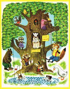 Vintage Children's Books, Vintage Art, Richard Scarry, Summer Scenes, Diy Décoration, Baby Kind, Woodland Creatures, Children's Book Illustration, Conte