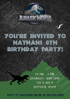 Items Similar To Jurassic World Dinosaur Birthday Party Invitation