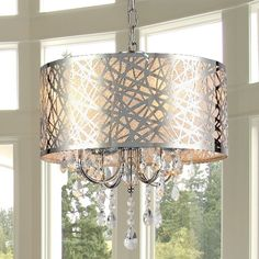 Add elegance to your home with his abstract 4-light crystal chandelier. This unique chrome-finished lighting fixture will be sure to illuminate any room with style.