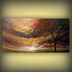 folk art pop art surreal large original painting surreal abstract painting lollipop tree painting fantasy stars 48 x 24 x 1.5 Mattsart  This is breathtaking.