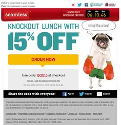 Seamless, the online food delivery service, used a live countdown timer to show when a limited-time lunch deal would expire. Subject Line: Get 15% OFF lunch today only! #emailmarketing